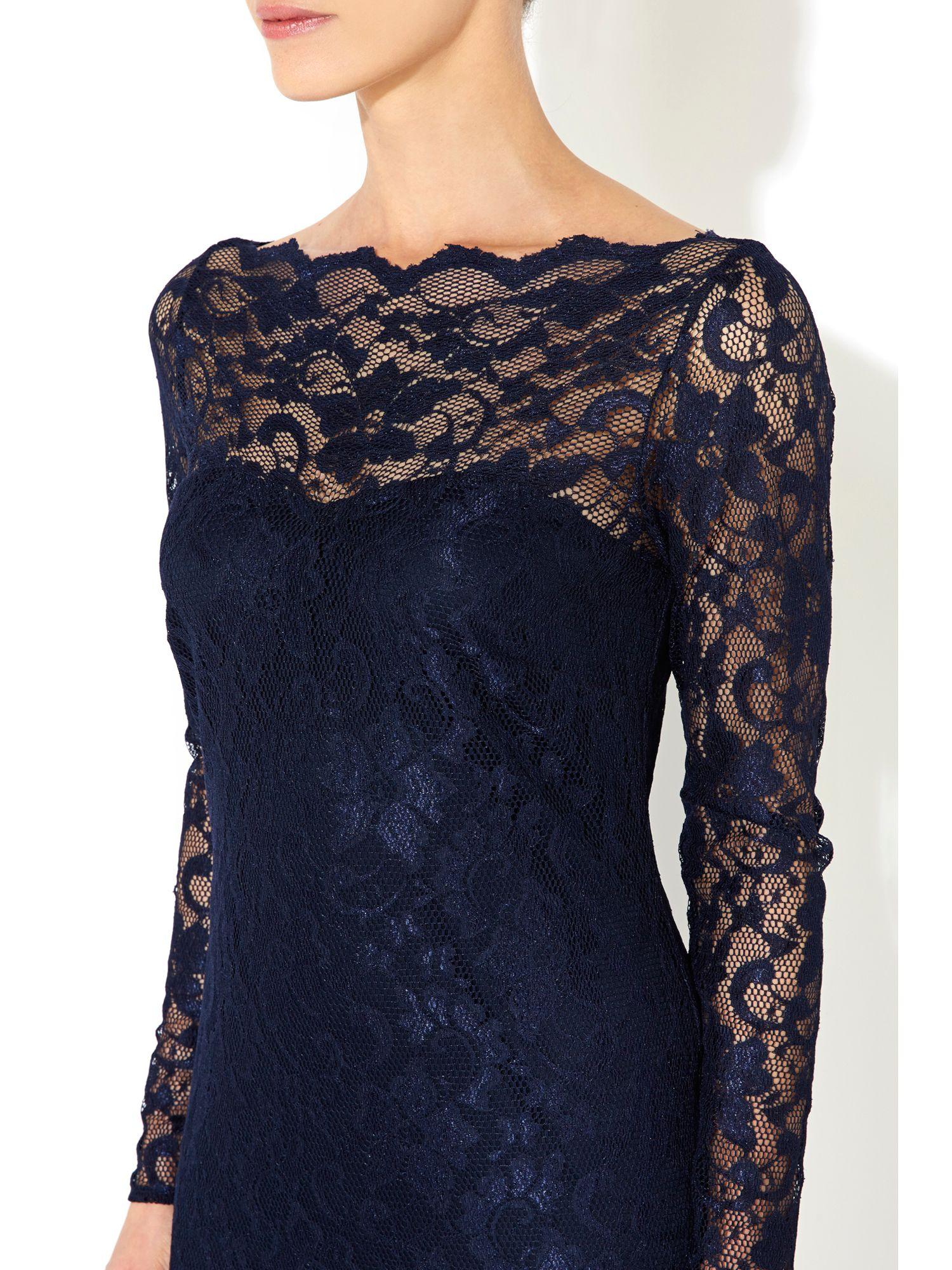 wallis navy blue lace dress in blue lyst