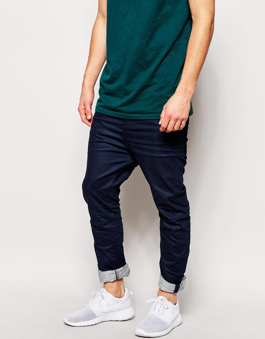 jack jones coated slim fit jeans in blue for men darkbluedenim. Black Bedroom Furniture Sets. Home Design Ideas