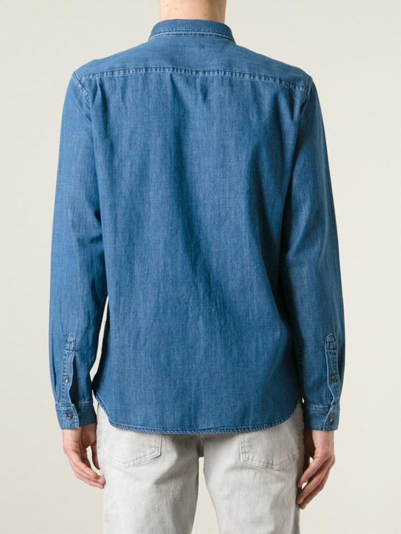 Lyst closed button down collar denim shirt in blue for men for Button down collar dress shirts
