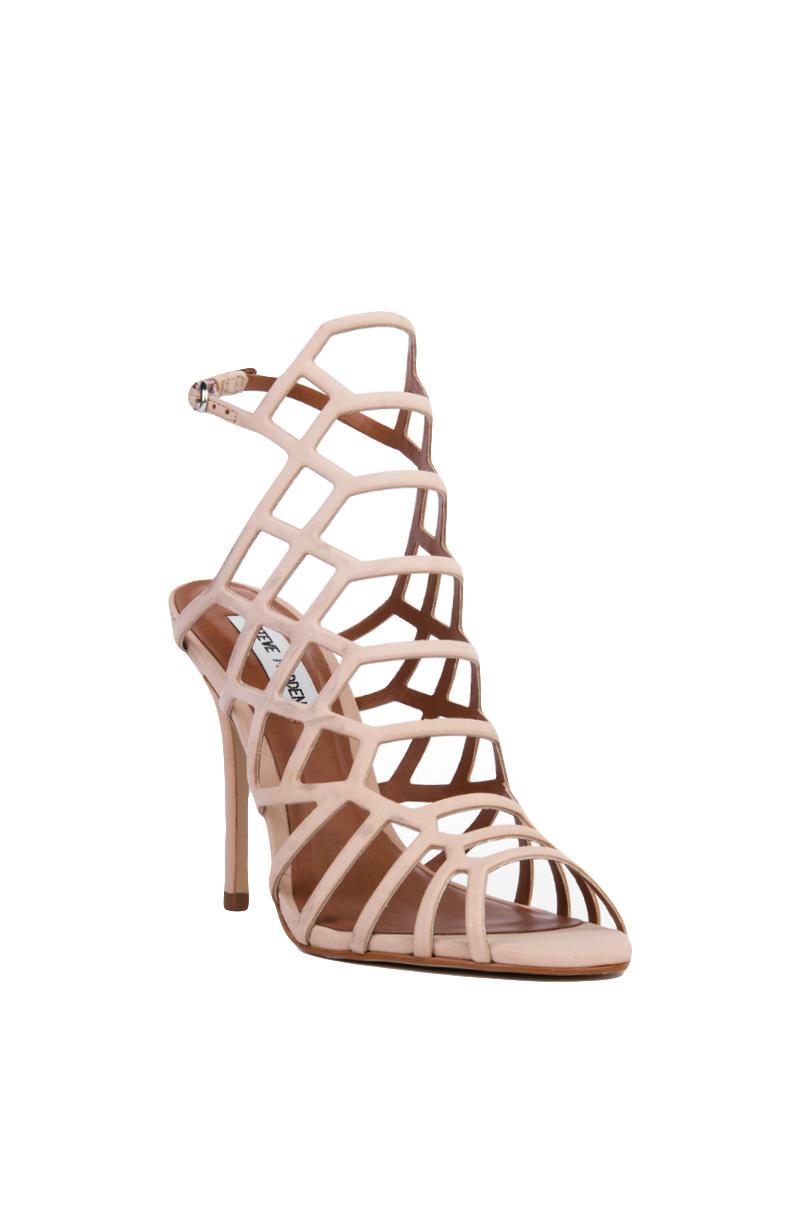 ce67f2dba1b Steve Madden Slithur Caged Heeled Sandals - Blush Nubuck in Natural ...