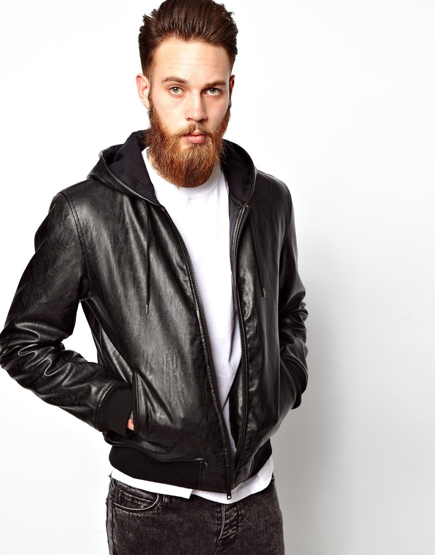 Mens Faux Leather Jacket With Hood