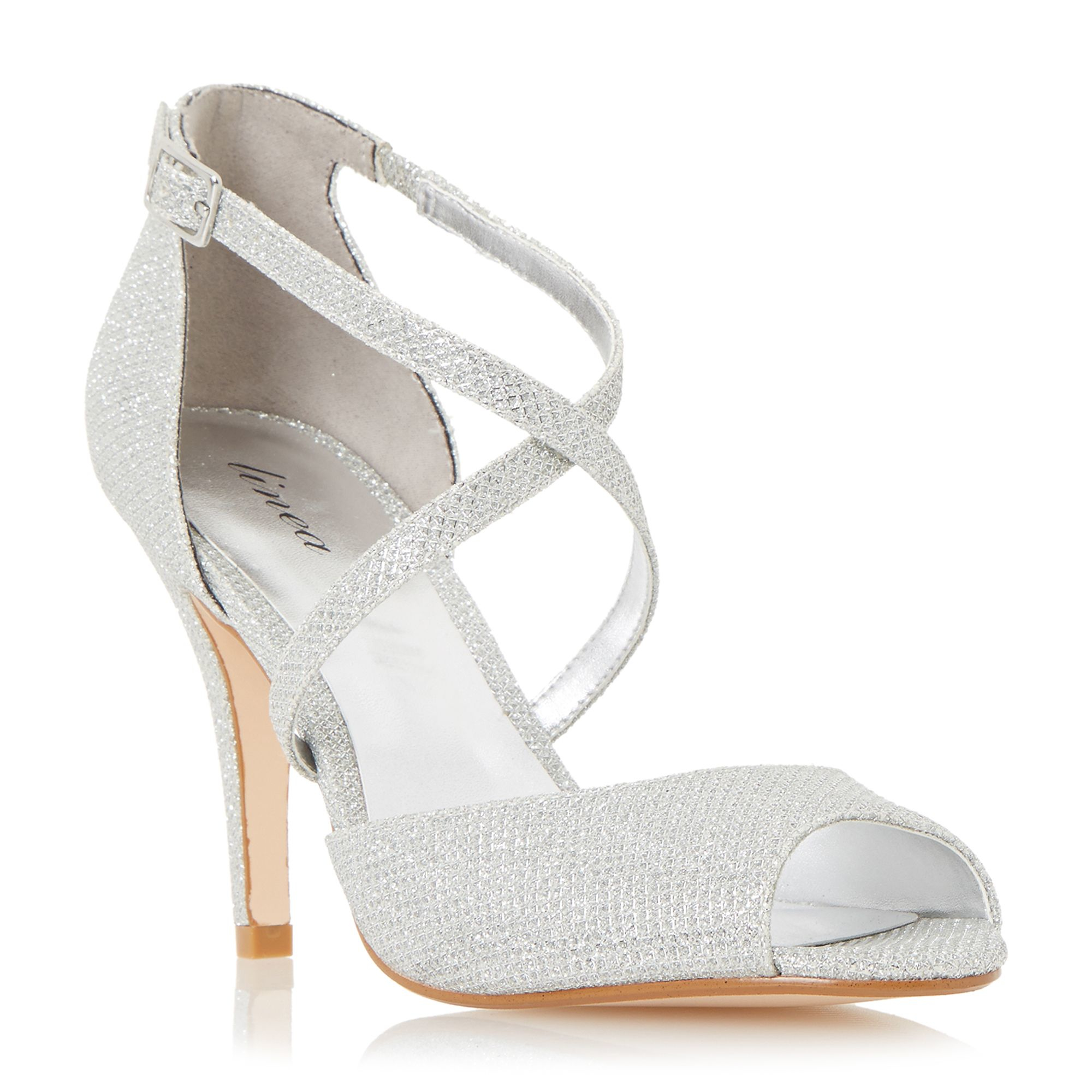 Linea Miah Peep Toe Cross Over Heeled Sandals In Silver
