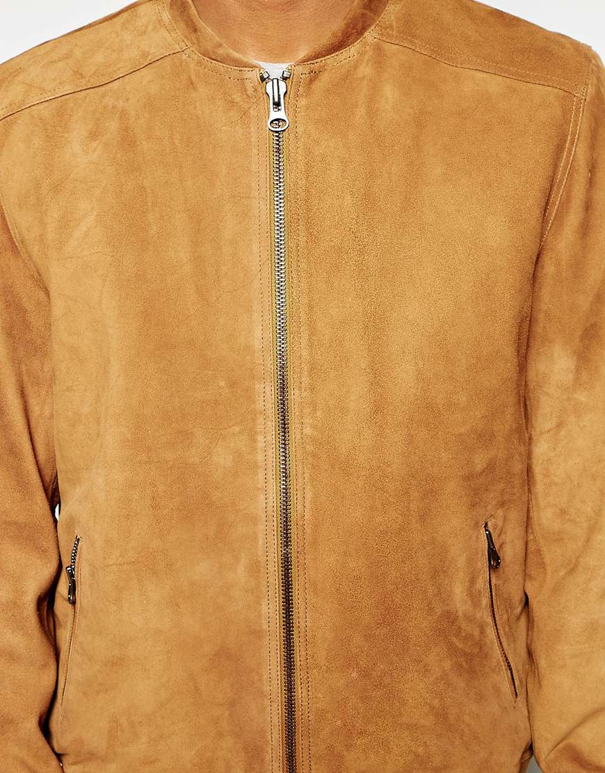 In Suede Men Jacket Selected Lyst Bomber Brown For UIq7w5vZ