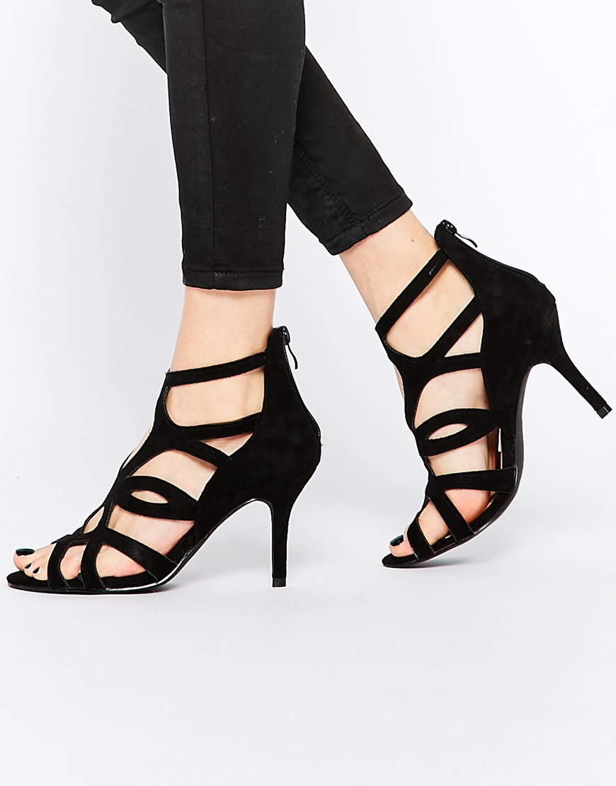 576fb59523a8 Oasis Asis Caged Heeled Sandal in Black - Lyst