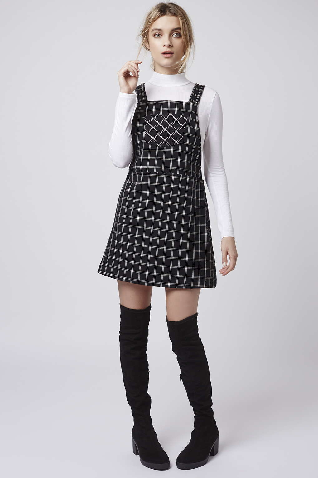 Lyst - Topshop Petite Check Pinafore Dress In Black-3411