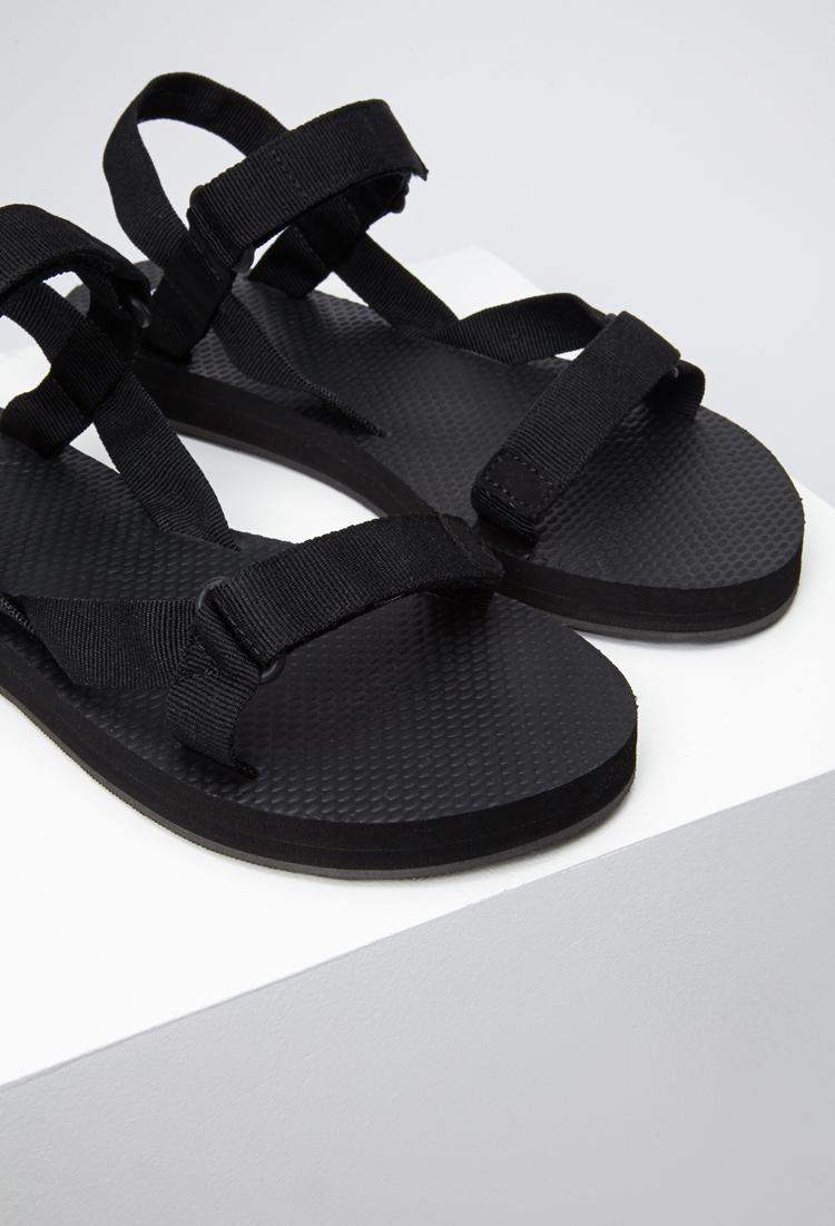 Forever 21 Adjustable Strap Flatform Sandal In Black Lyst
