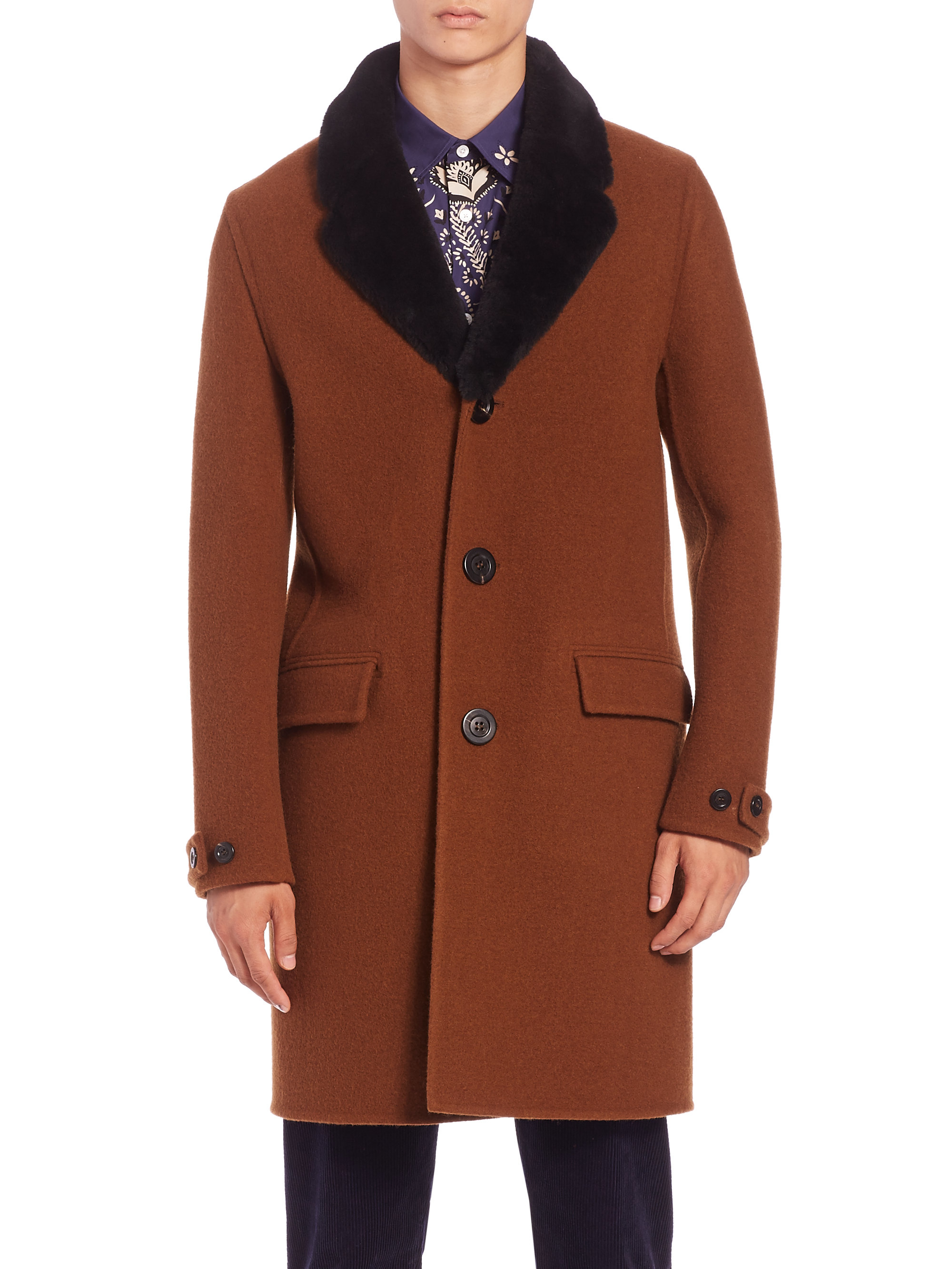 Burberry prorsum Wool & Shearling Collar Chesterfield Coat in ...