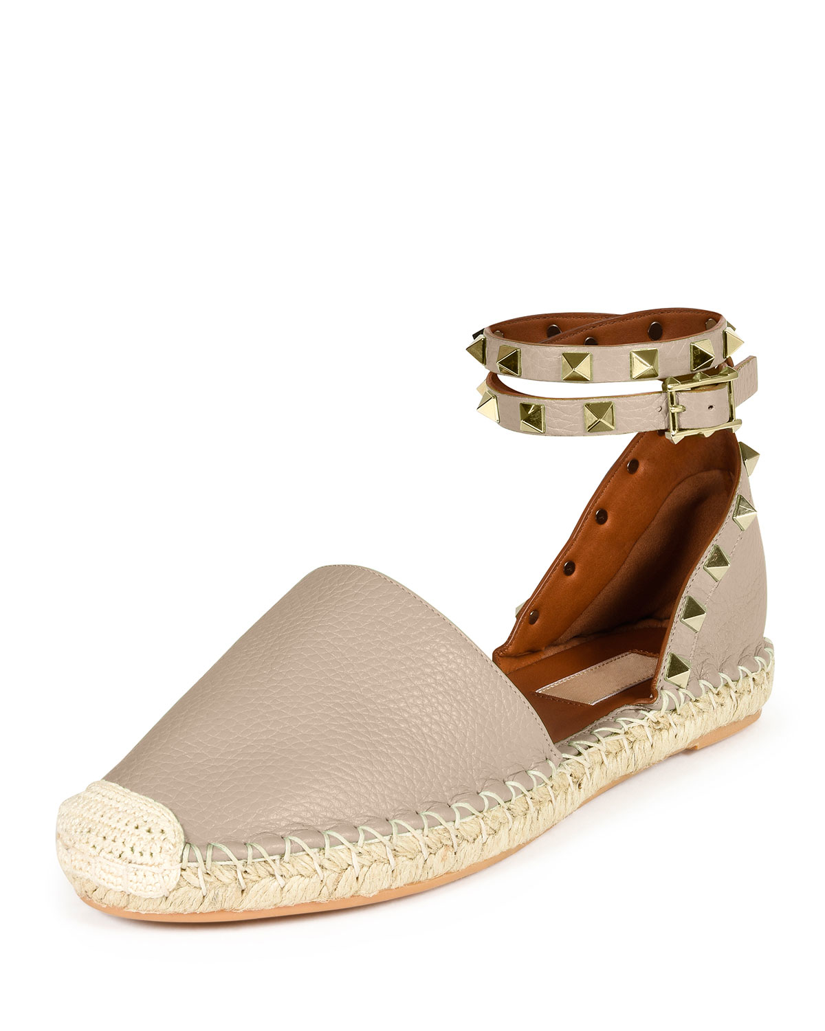 Valentino Rockstud Leather Espadrilles In Natural Lyst