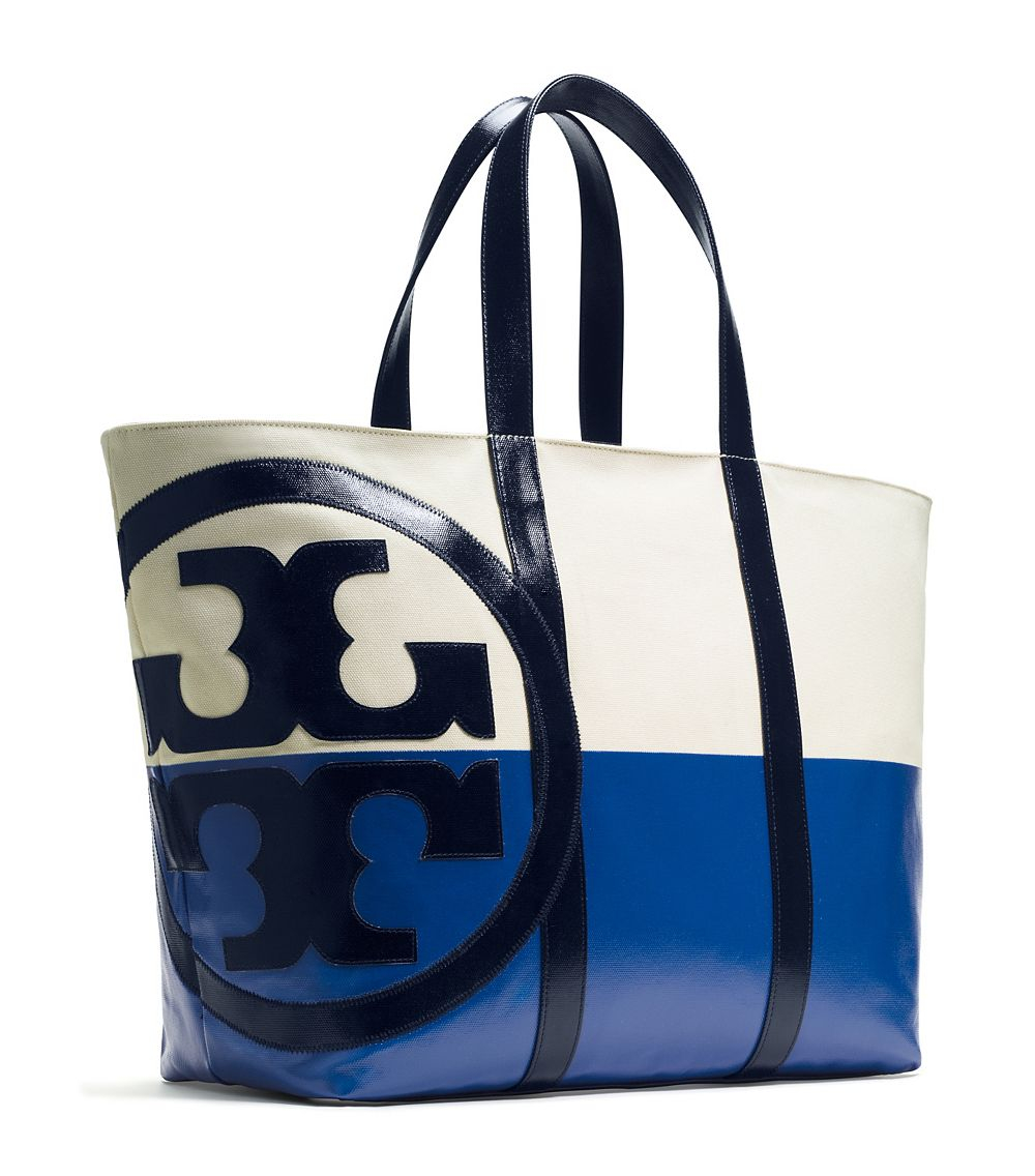 493312ded012 Lyst - Tory Burch Beach Dipped Large Zip Tote in Blue