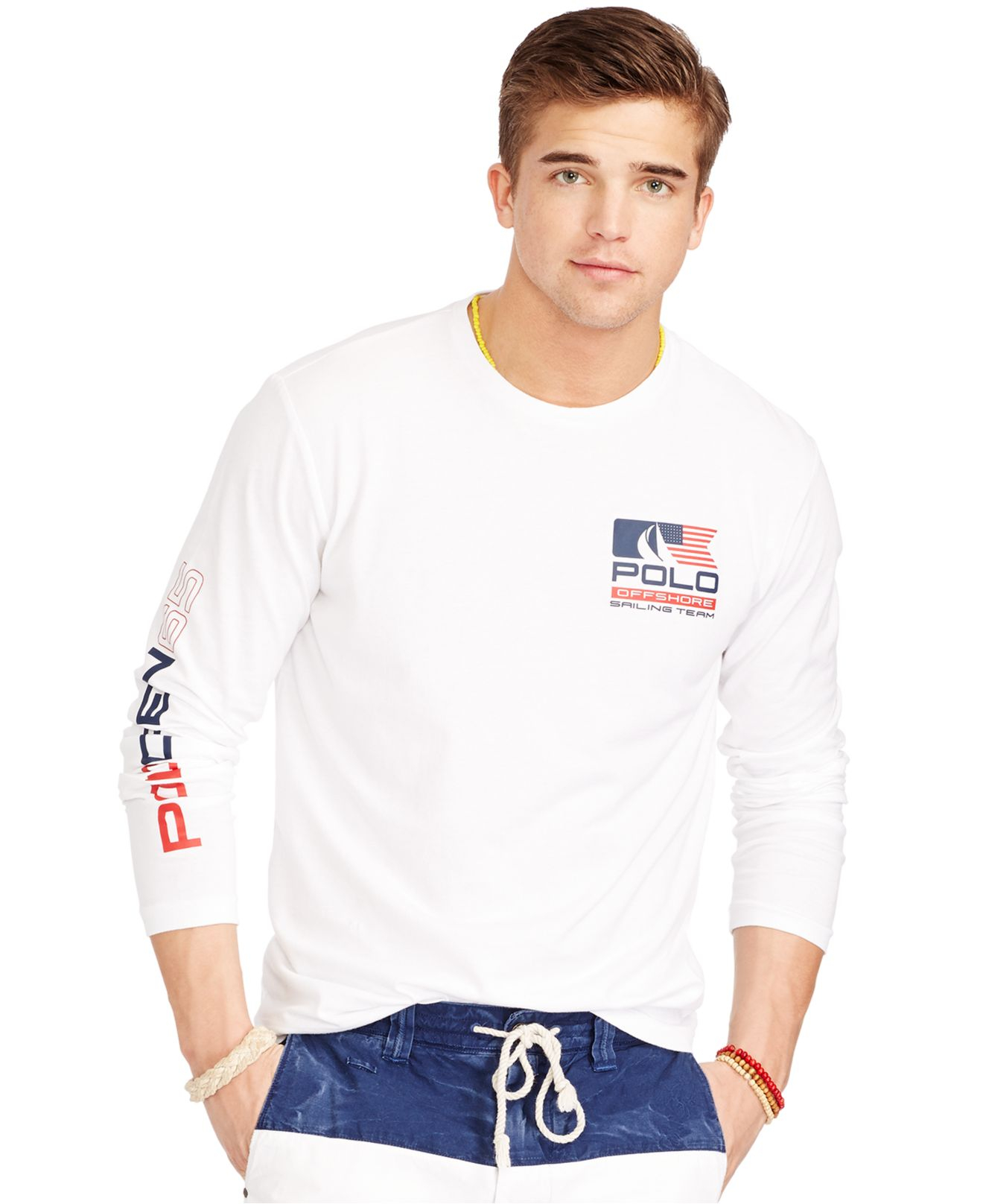 6406ba9e4 Polo Ralph Lauren Long-sleeved Flag Graphic T-shirt in White for Men ...