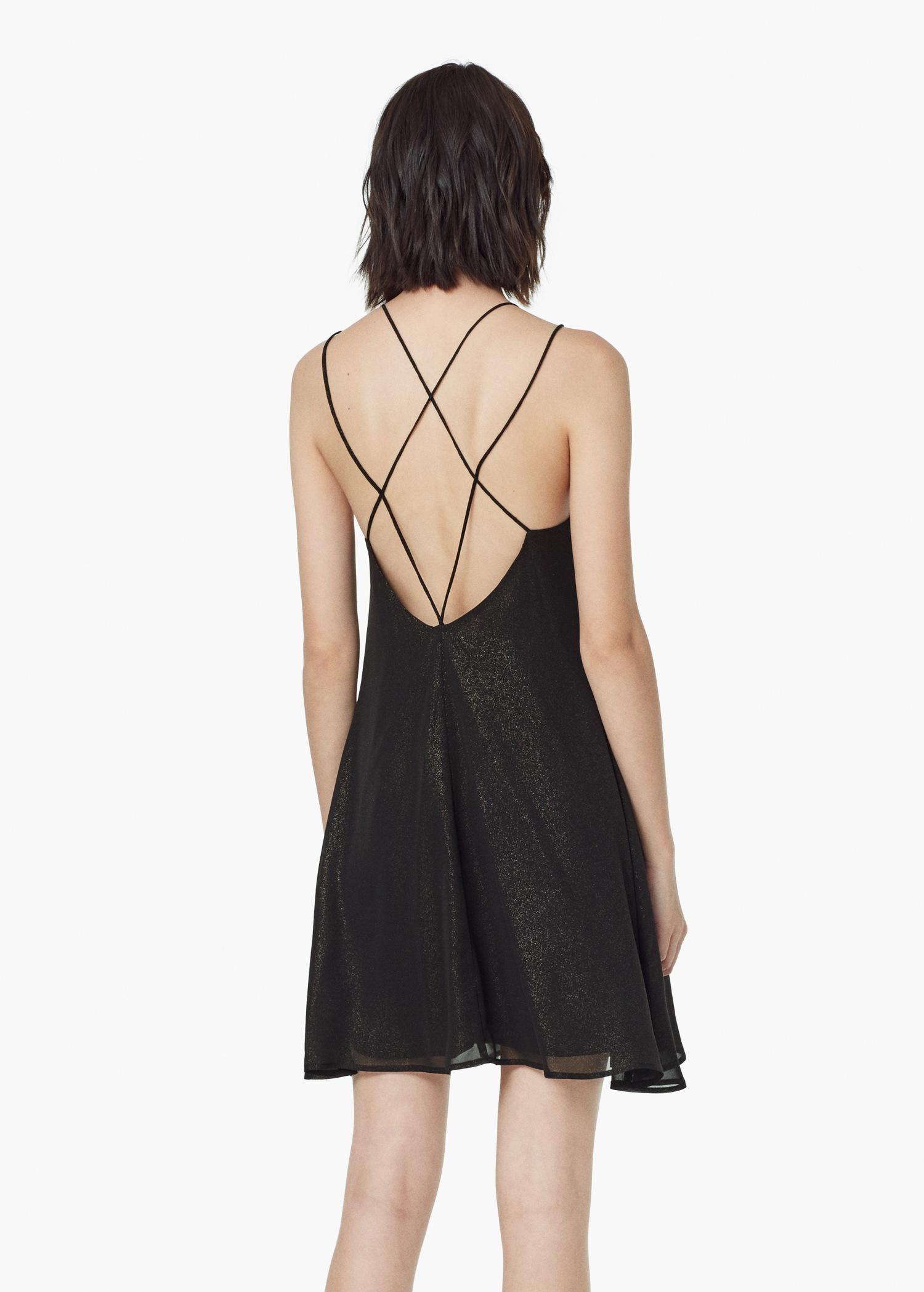 Lyst Mango Glitter Flowy Dress In Black