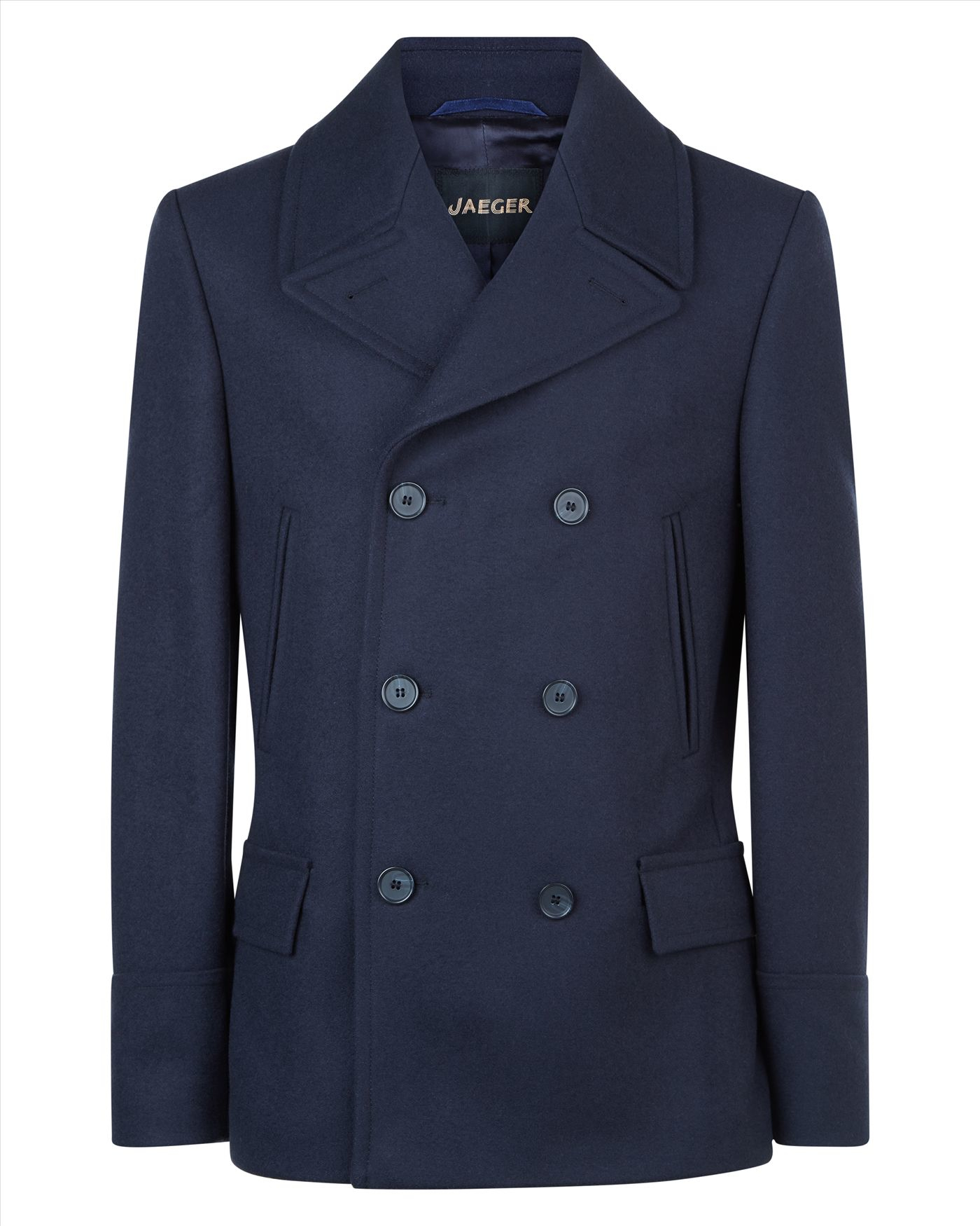 Jaeger Wool Pea Coat in Blue for Men | Lyst