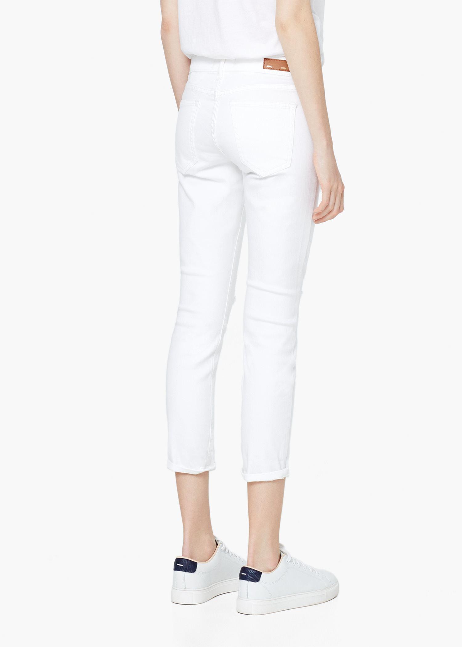 eea63fa462 Lyst - Mango Nancy Slim Cropped Jeans in White