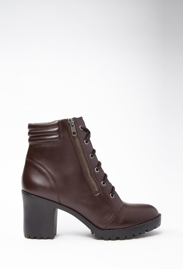 forever 21 faux leather combat boots in purple lyst