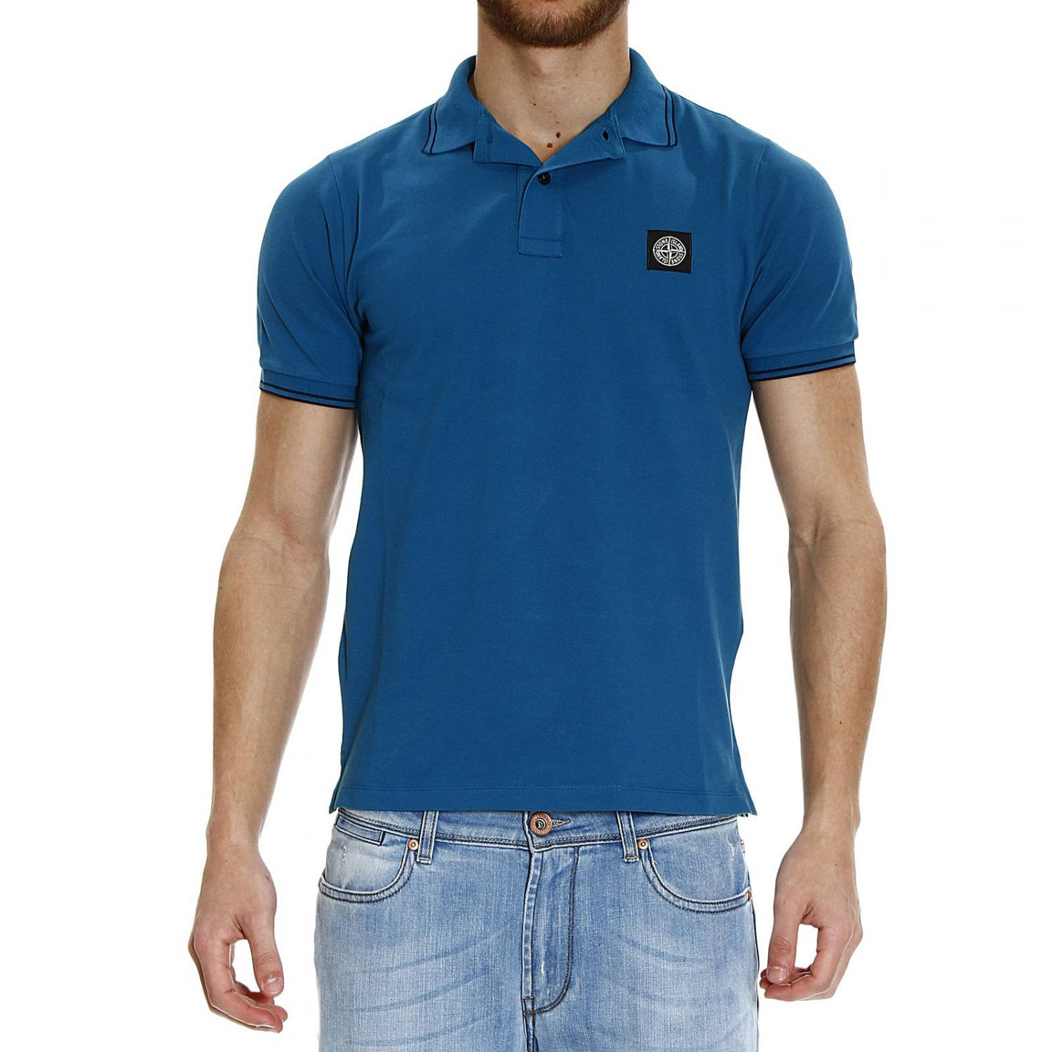 Stone Island T Shirt Polo Piquet Neck With Contrast In