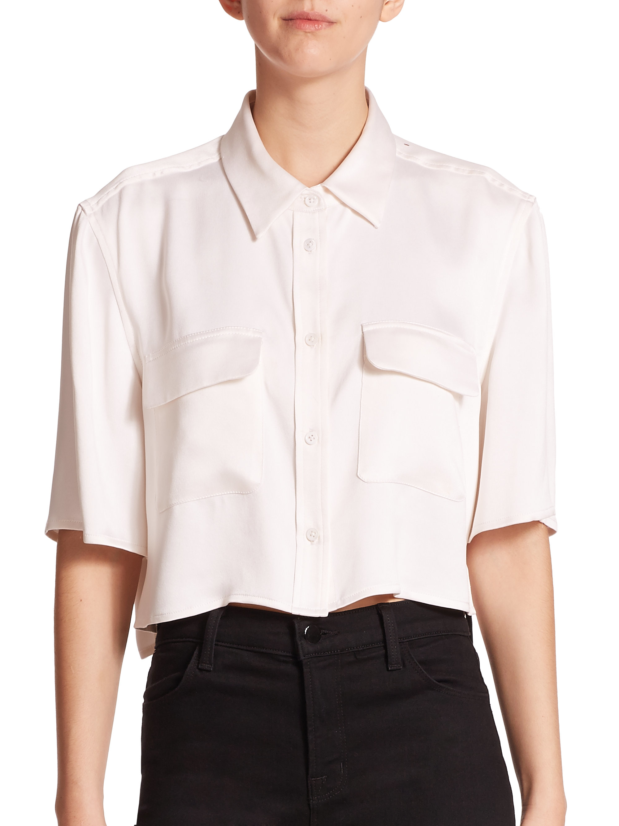 Equipment Signature Cropped Silk Shirt In White Lyst