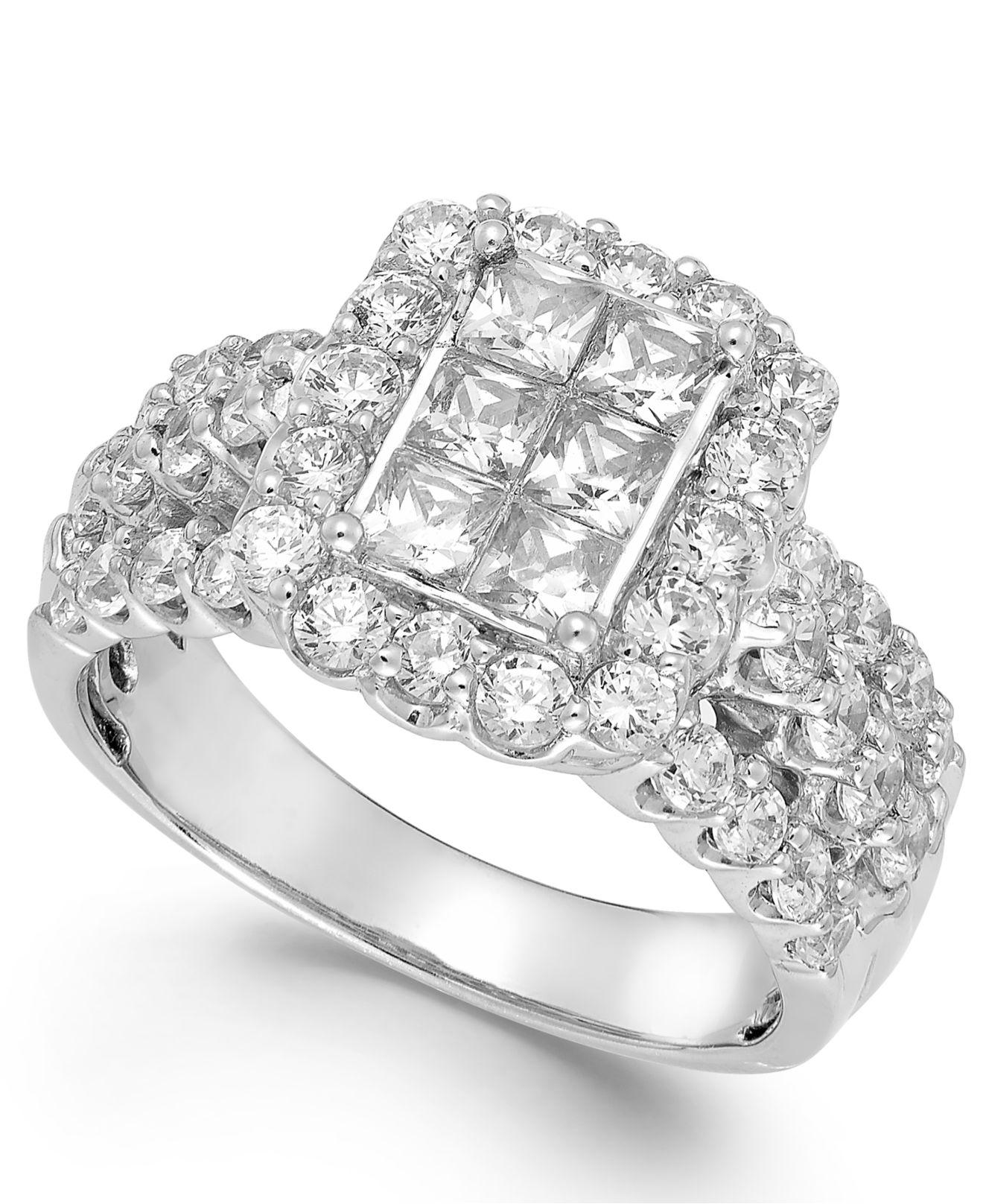 Macy's Diamond Halo Engagement Ring In 14k White Gold (2