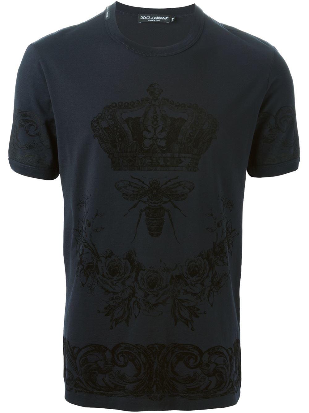 dolce gabbana crown bee print t shirt in black for men. Black Bedroom Furniture Sets. Home Design Ideas