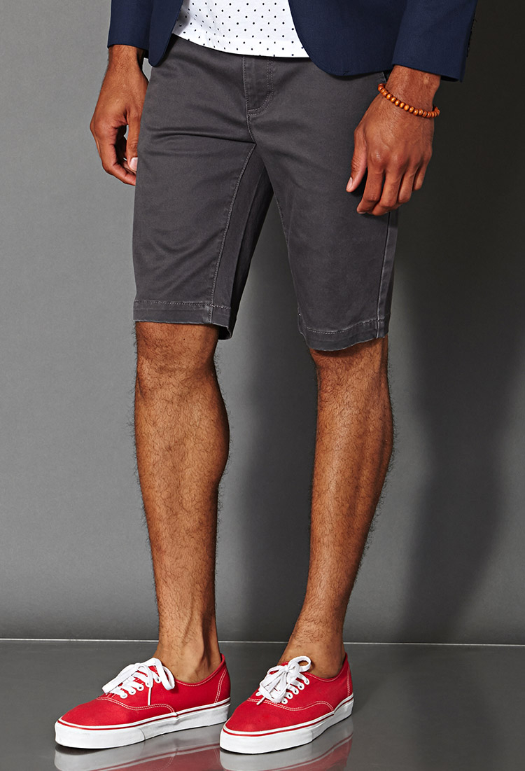 Forever 21 Cotton-blend Chino Shorts in Gray for Men | Lyst