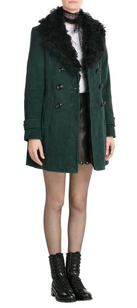 Red valentino Sheepskin Coat With Shearling - Green in Green | Lyst