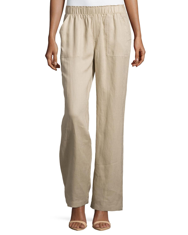 Neiman marcus Elastic-waist Wide-leg Linen Pants in Brown   Lyst