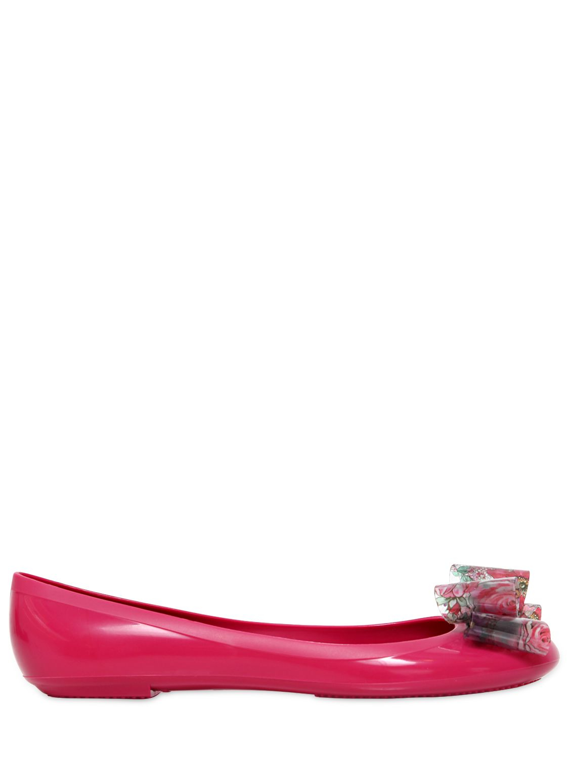 c9b870fcb396 Lyst - RED Valentino Rubber Ballerina Flats with Floral Bow in Pink