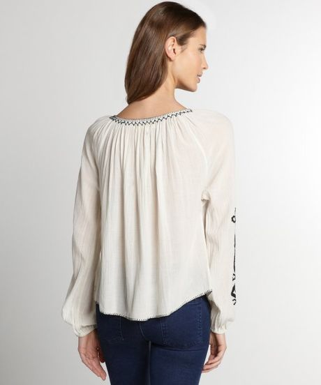 Peasant Blouse White Long Sleeve 106