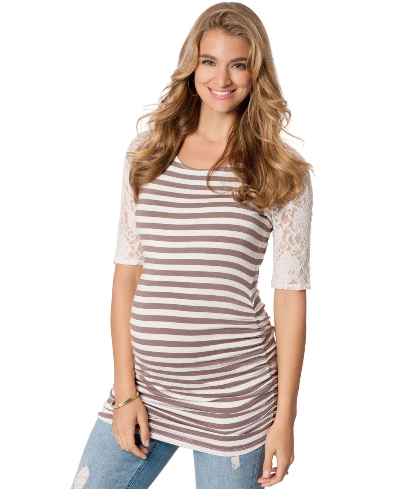 Jessica simpson maternity striped lace trim ruched top in natural gallery ombrellifo Gallery