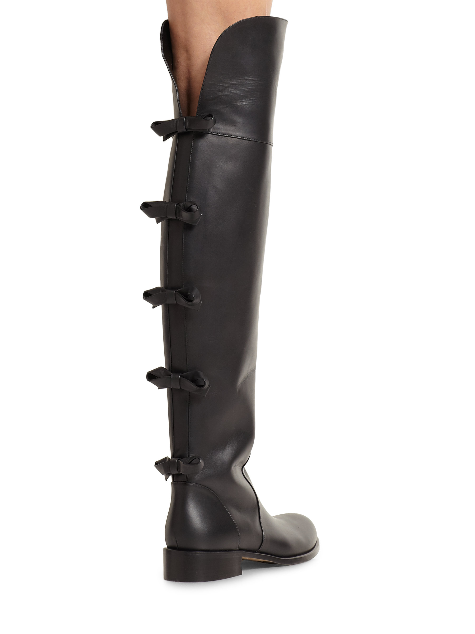 Valentino Bow-Back Leather Over-The-Knee Boots in Black