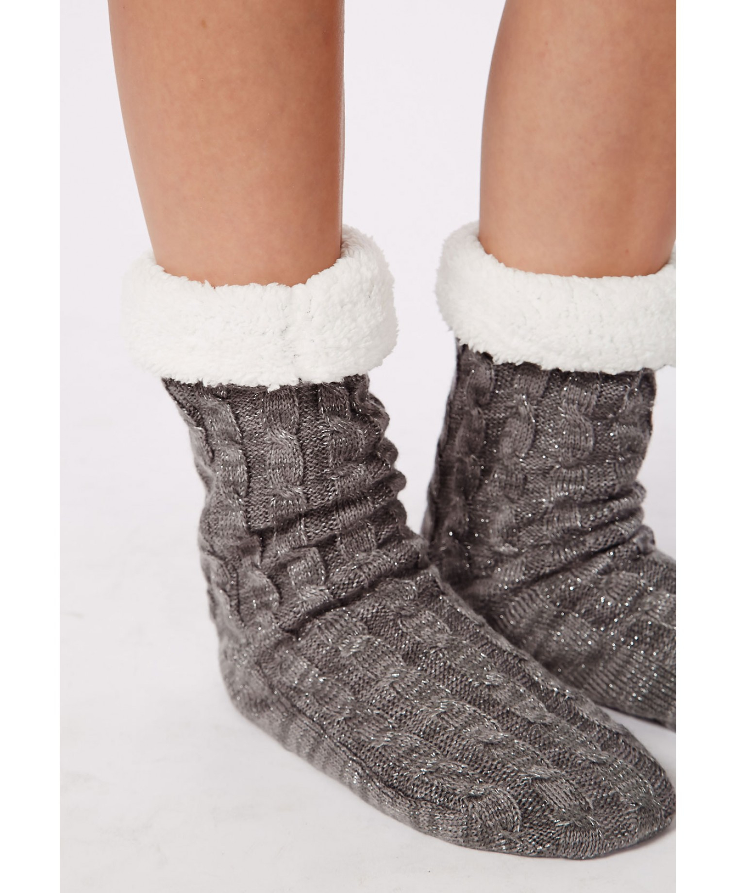 Missguided Chunky Cable Knit Slipper Socks Grey In Gray (grey) | Lyst