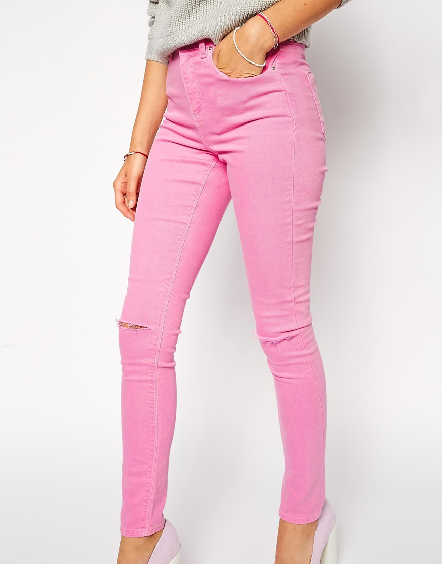 Asos Ridley Skinny Jeans In Washed Pink With Ripped Knees in Pink ...