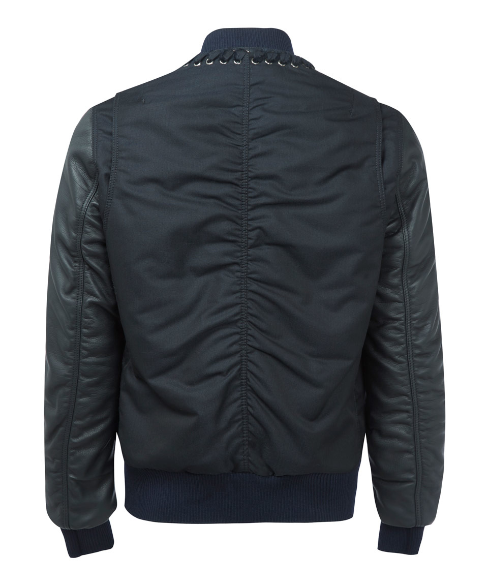 Lanvin Black Mixed Fabric Bomber Jacket in Black for Men | Lyst
