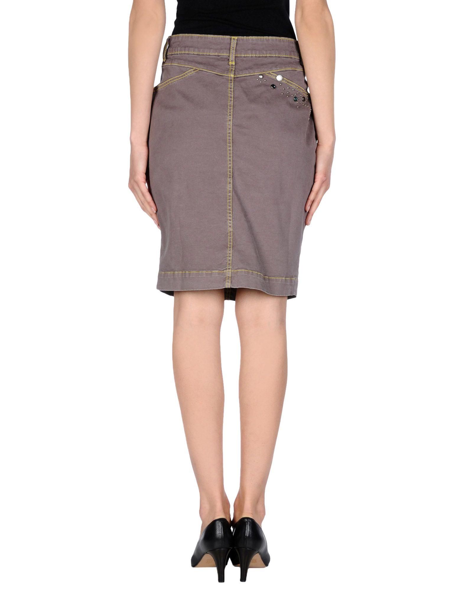 manila grace denim skirt in gray dove grey lyst