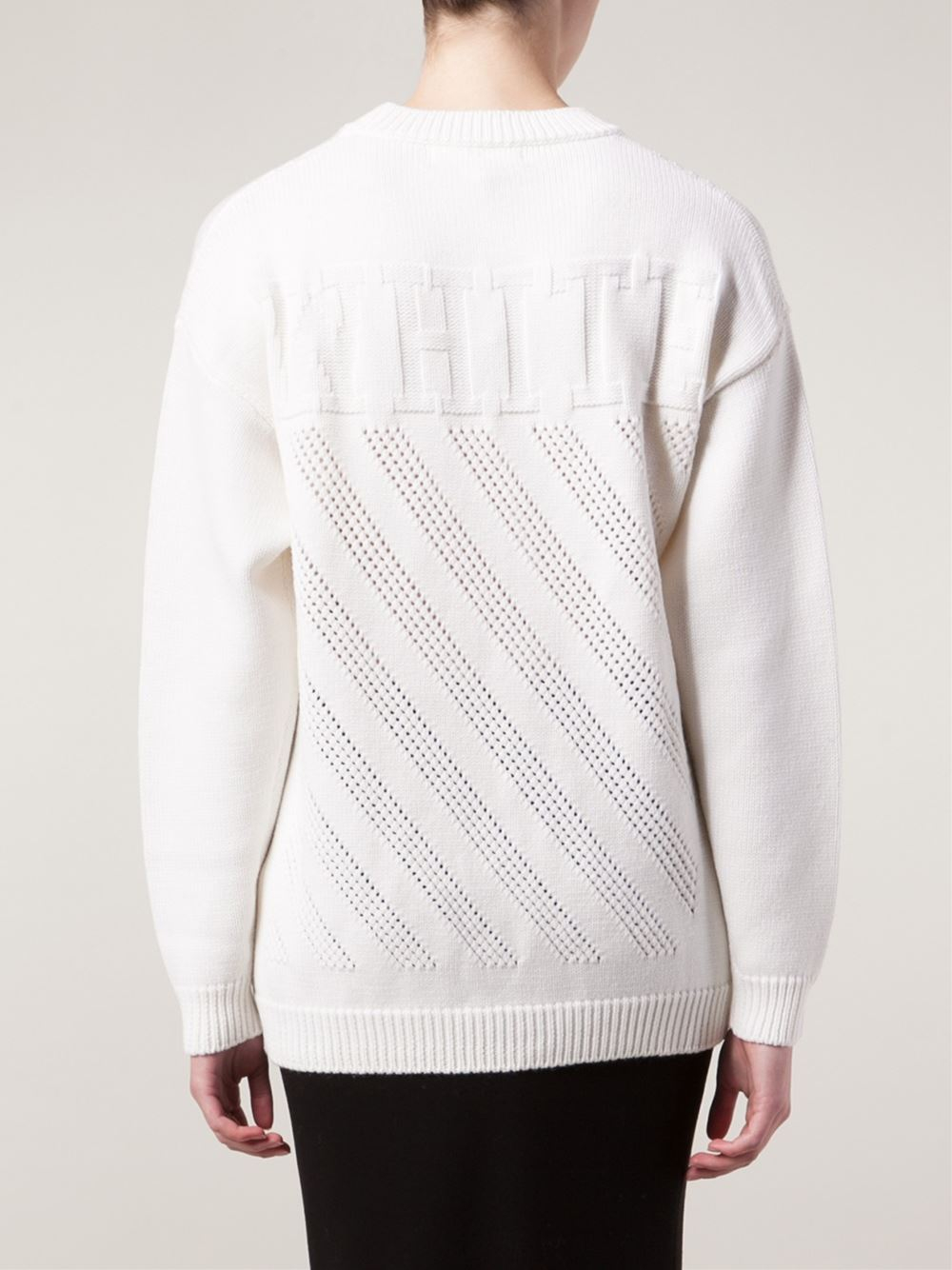 off white c o virgil abloh perforated sweater in white lyst. Black Bedroom Furniture Sets. Home Design Ideas