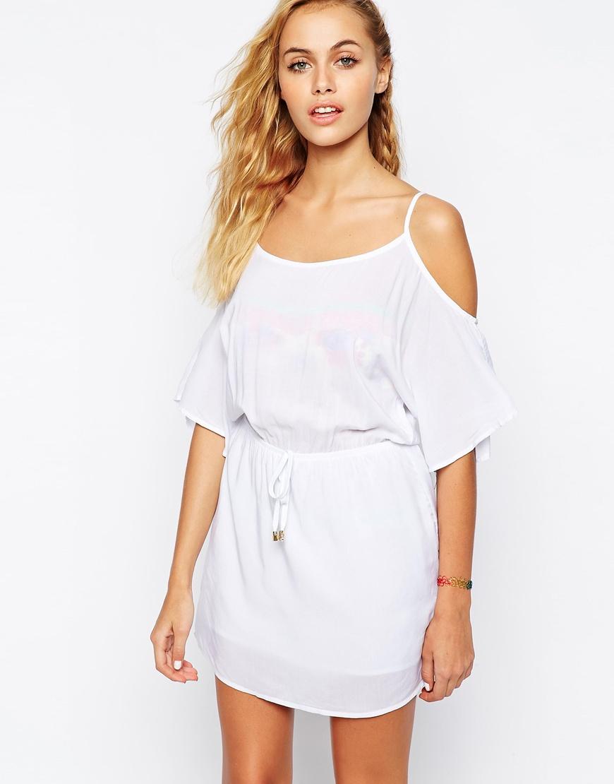 56ab2e7ab8a6 Lyst - Phax Off The Shoulder Beach Dress in White