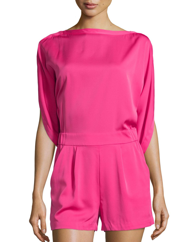 405e863d8de Lyst - Diane von Furstenberg Soleil Dolman-sleeve Silk Romper in Pink