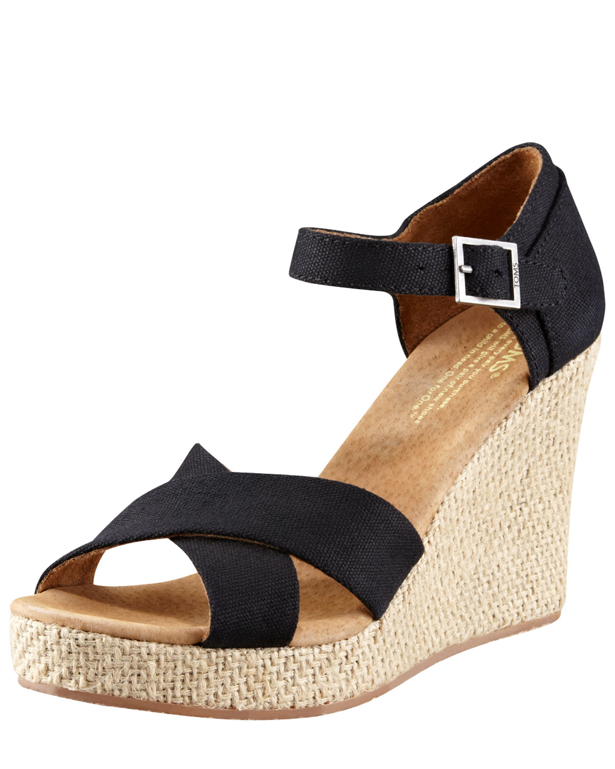 50c2d9ea291 TOMS Canvas Wedge Sandal in Black - Lyst