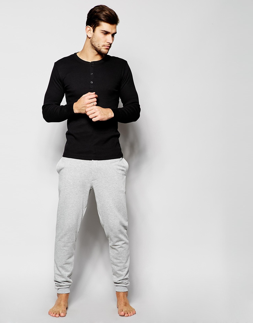 Levi 39 s levi 39 s henley long sleeve t shirt in muscle fit in for Black long sleeve henley shirt