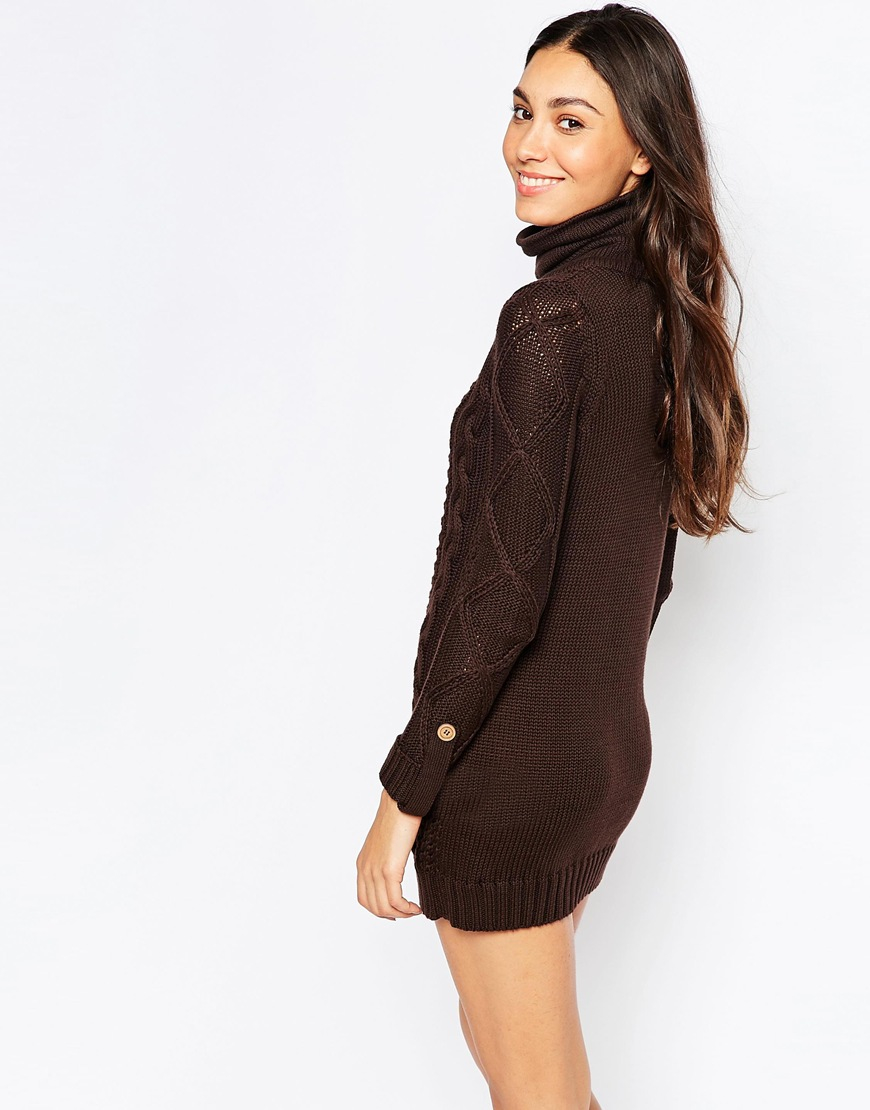 Vero Moda Roll Neck Cable Knit Sweater Dress in Brown - Lyst 6f6ca77ed893