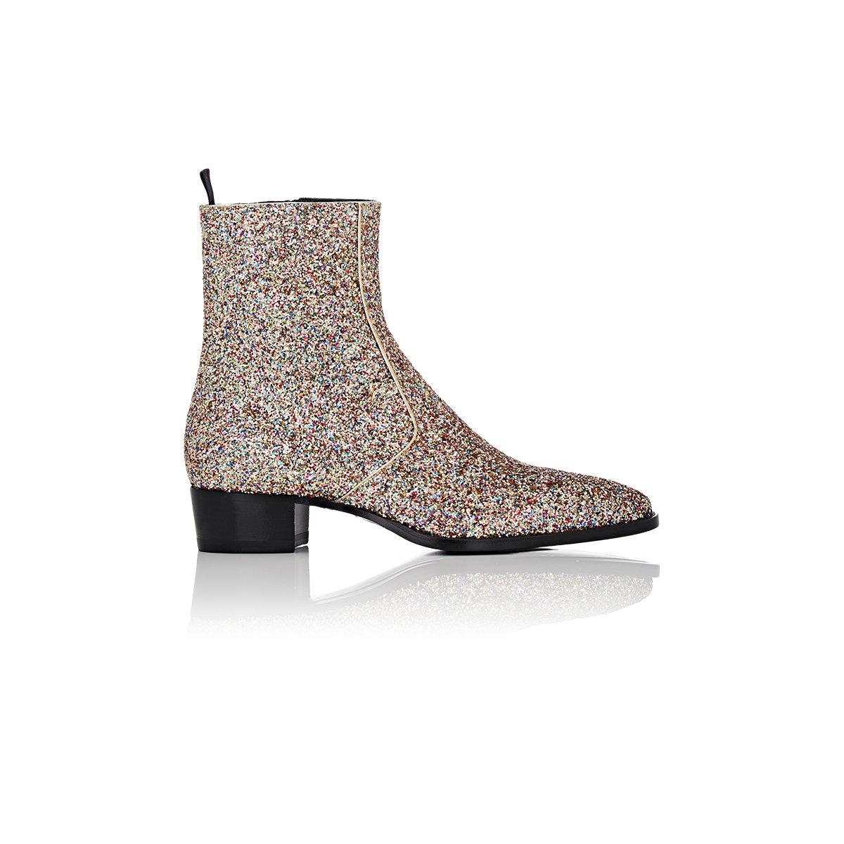bbf07b40a6e Saint Laurent Glitter-covered Wyatt Boots in Metallic - Lyst