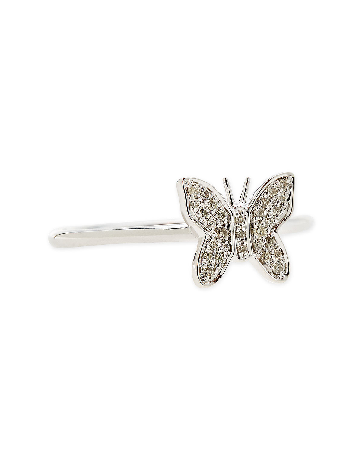 sydney evan 14 karat white gold butterfly ring with pave
