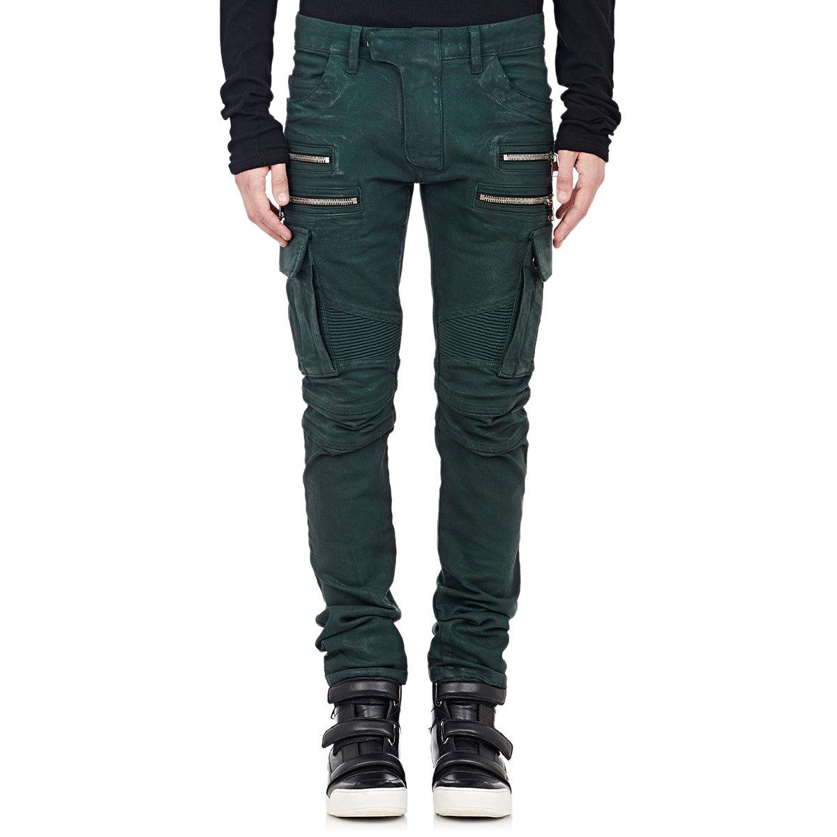 e371e3e1 Balmain Cargo Moto Jeans in Green for Men - Lyst