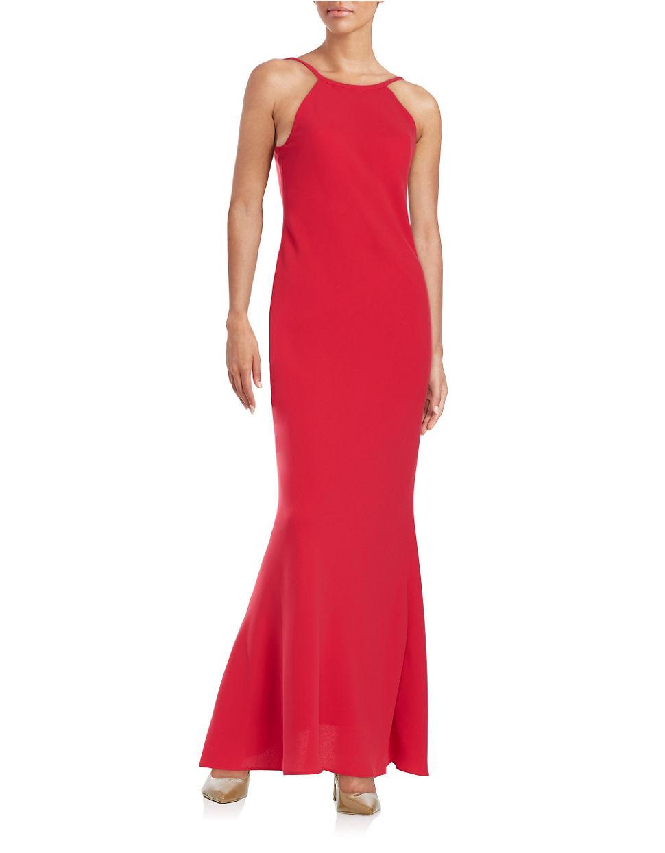 Calvin Klein Halter Neckline Gown In Red Lyst