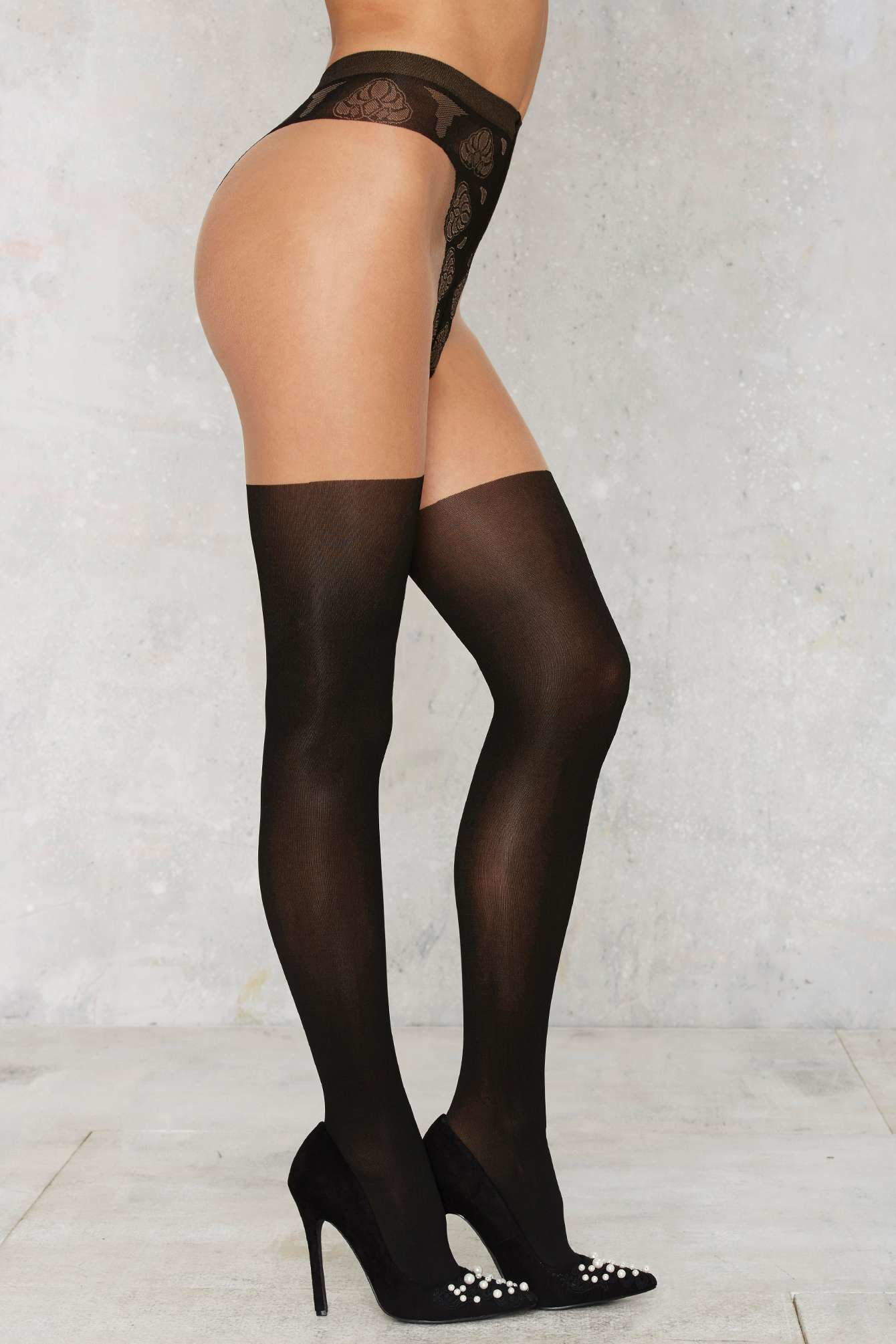 7eb6321e75e Lyst - Nasty Gal So Close Mock Thigh-high Tights in Black