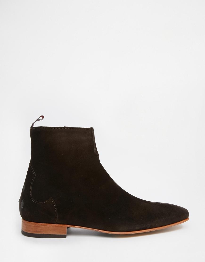 jeffery west suede zip boots in brown for lyst