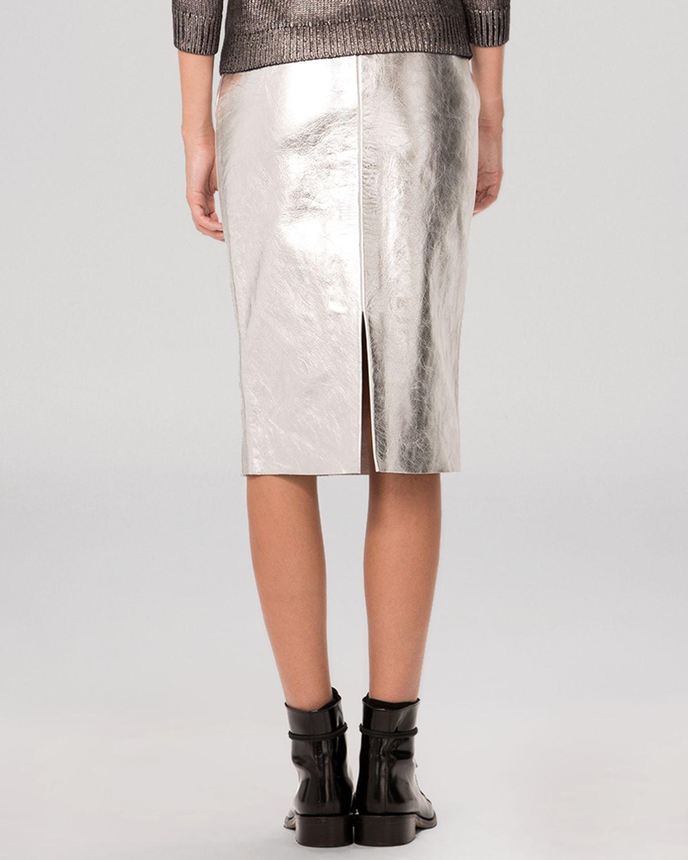 d076354e39 Maje Skirt - Gallium Metallic Leather in Metallic - Lyst