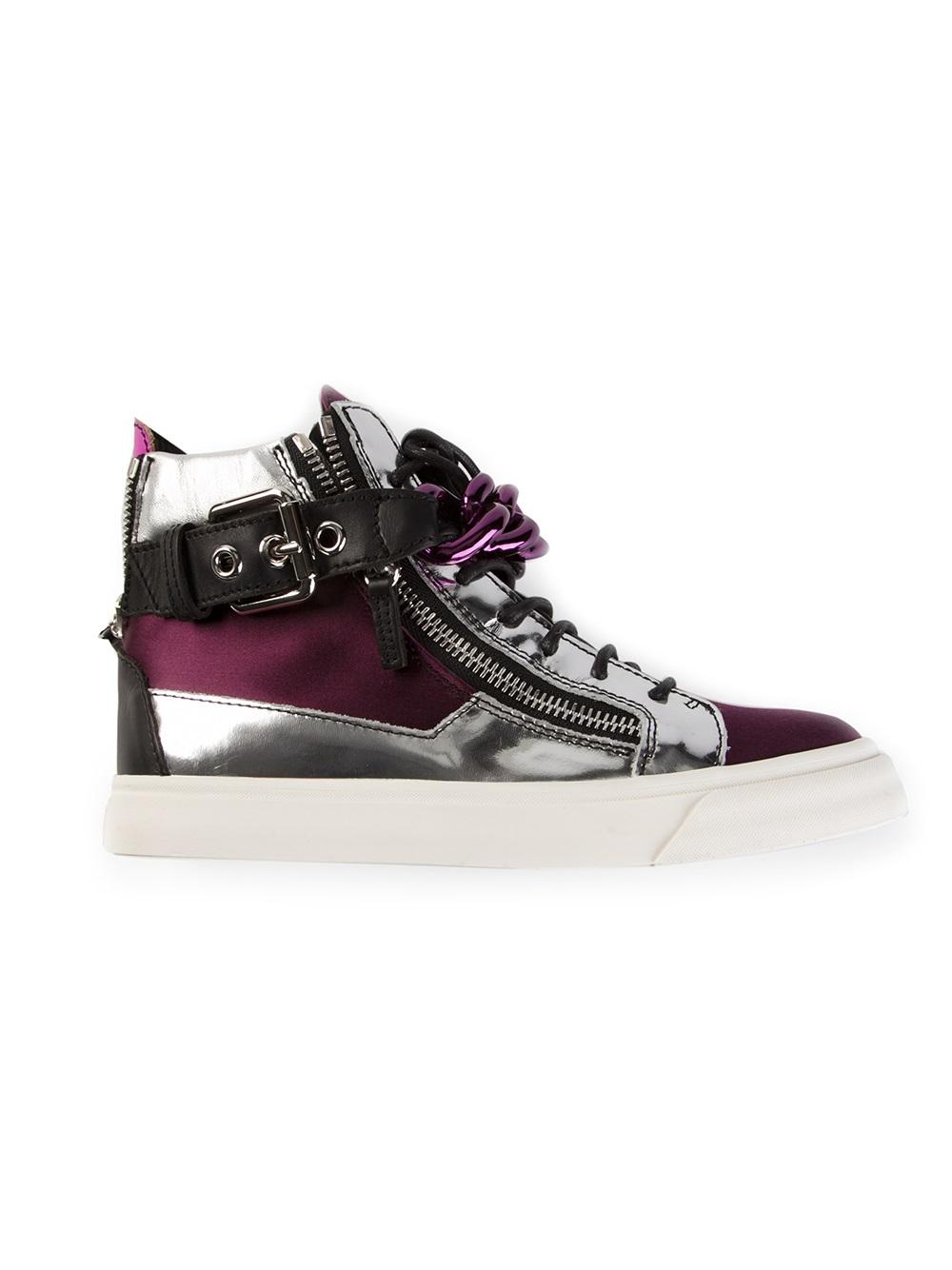 giuseppe zanotti chain detail hitop sneaker in pink pink