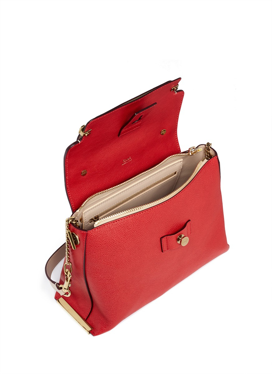 Chlo¨¦ \u0026#39;clare\u0026#39; Medium Leather Shoulder Bag in Red (Red,Multi-colour ...