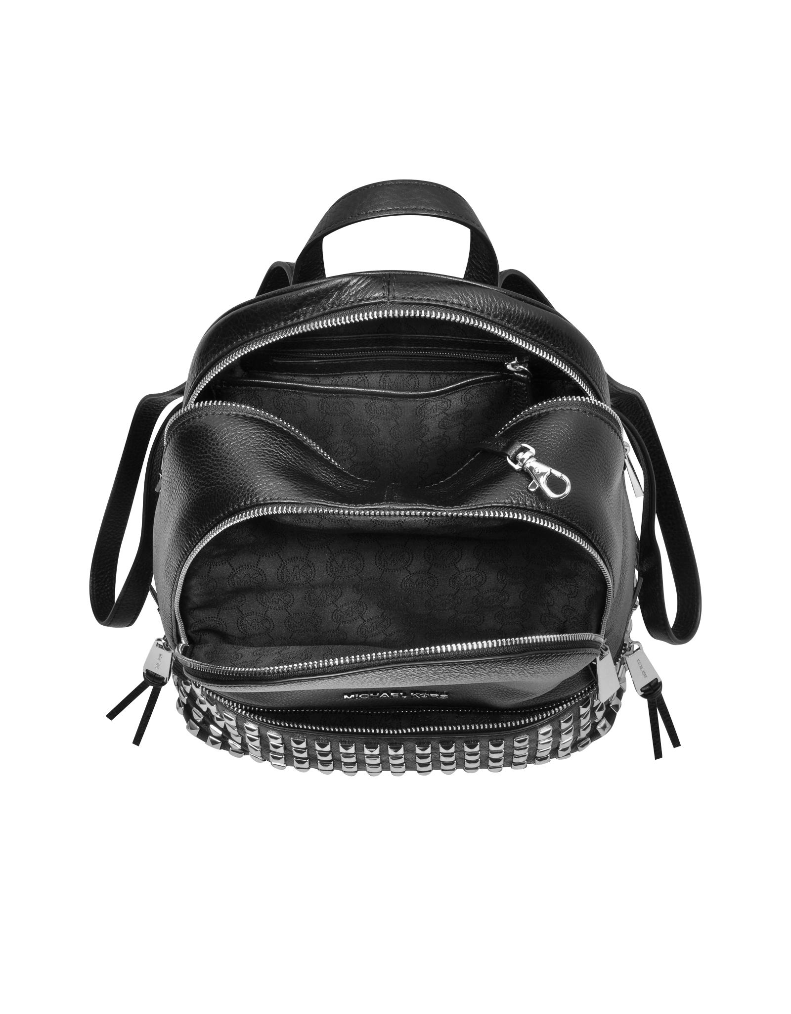 40aa94c1b4 Lyst - Michael Kors Rhea Zip Small Studded Leather Backpack in Metallic