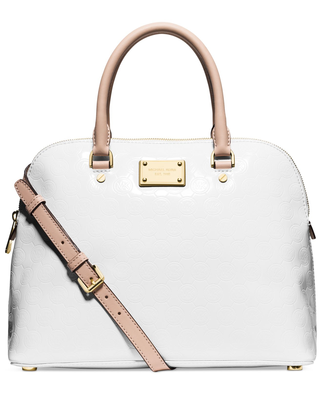 c2e9f76d1bdc ... netherlands lyst michael kors michael cindy medium dome satchel in  natural 258d5 5cc65